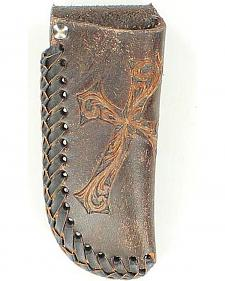 Nocona Diagonal Embossed Cross Distressed Leather Knife Sheath