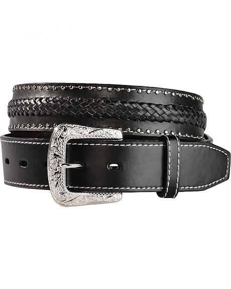Coyote Black Woven Leather Western Belt