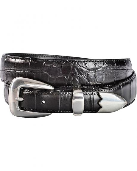 3D Black Gator Print Leather Belt