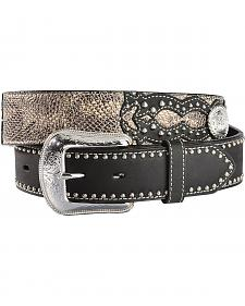 3D Studded Snake Print Black Leather Belt