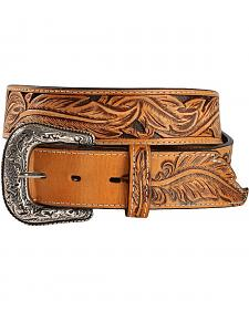 Red Ranch Hand Tooled Leather Belt