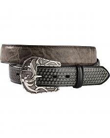 Red Ranch Distressed Grey Basketweave Billet Western Belt