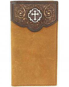 Nocona Tooled Leather Overlay Cross Concho Wallet