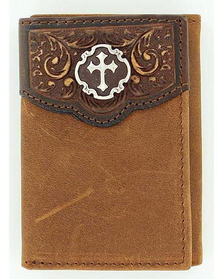 Nocona Tooled Leather Overlay with Cross Concho Tri-Fold Wallet