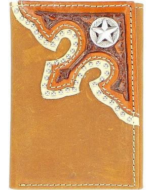 Nocona Corner Overlay with Star Concho Tri-Fold Wallet
