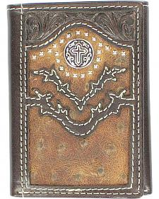 Nocona Vintage Ostrich Print with Cross Concho Tri-Fold Wallet