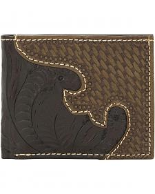 American West Tooled with Basketweave Overlay Tri-Fold Wallet