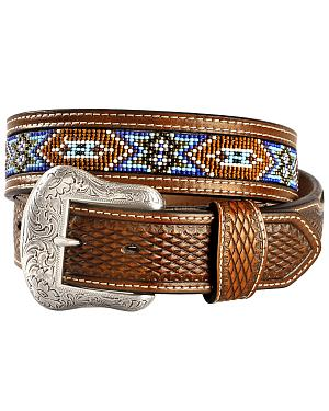 Nocona Basketweave Leather Billets Western Belt