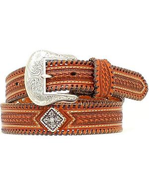 Nocona Basketweave & Concho Leather Belt