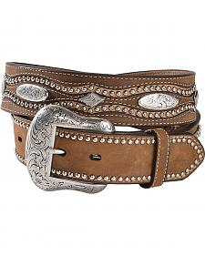 Nocona Floral & Cross Embossed Concho Leather Belt
