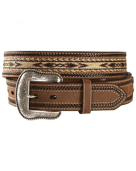 Nocona Aztec Horsehair Inlay Leather Belt