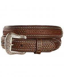 Nocona Ostrich Print Basketweave Billets Leather Belt