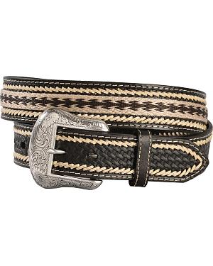 Nocona Basketweave with Leather Whipstitching Embroidered Belt