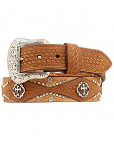 Nocona Cross Concho Basketweave & Hair-on Hide Western Belt