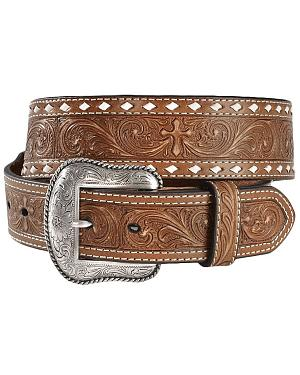 Nocona Embossed Cross Western Belt