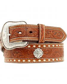 Nocona Cross Concho Embossed Leather Belt