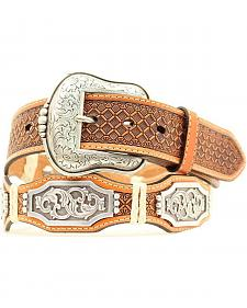 Ariat Honeycomb Print Concho Leather Belt