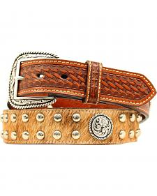 Ariat Basketweave & Hair on Hide Concho Studded Leather Belt