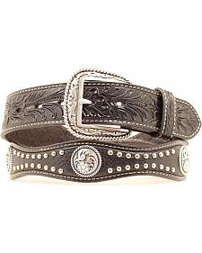Ariat Embossed & Studded Black Leather Belt