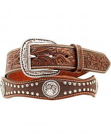 Ariat Floral Embossed Scalloped Concho Studded Leather Belt