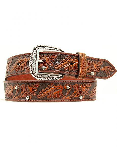 Ariat Embossed Floral Studded Leather Belt