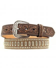 Ariat Floral Tooled Textured & Studded Leather Belt