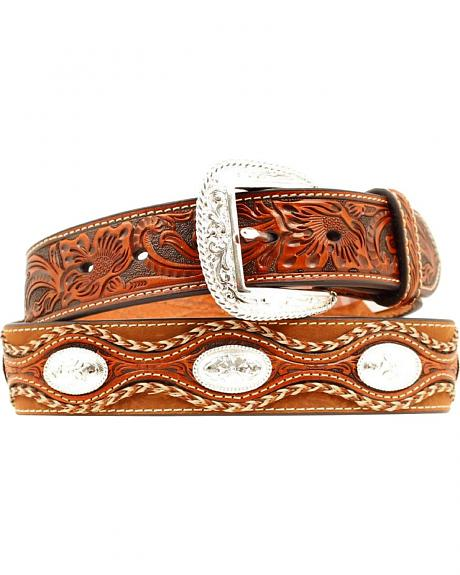 Ariat Floral Embossed Scalloped Overlay Leather Belt
