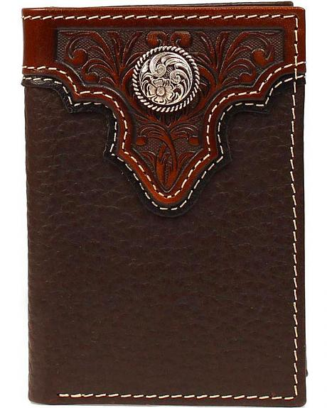 Ariat Tooled Overlay & Concho Tri-fold Wallet