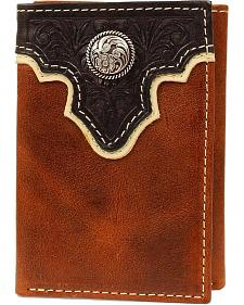 Ariat Two-Tone Tooled Overlay & Concho Tri-fold Wallet