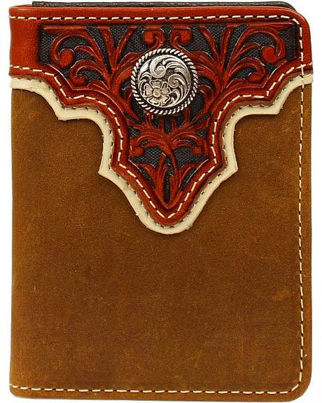 Ariat Tooled Overlay & Concho Bi-fold Wallet