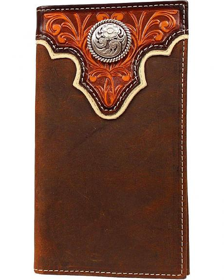 Ariat Tan Tooled Overlay w/ Concho Rodeo Wallet
