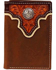 Ariat Tan Tooled Overlay Concho Tri-Fold Wallet