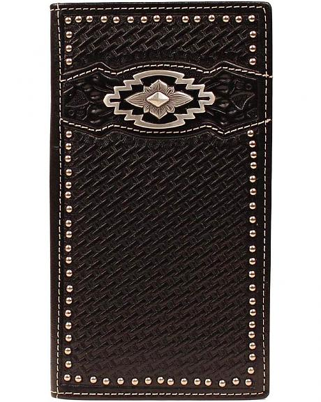 Ariat Black Basketweave Aztec Concho Rodeo Wallet