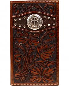 Ariat Trifold Floral Tooled Cross Concho Studded Tri-Fold Wallet