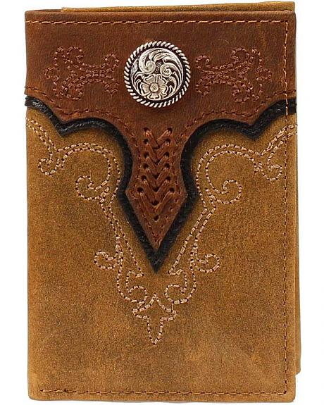 Ariat Fancy Stitched Scalloped Overlay Tri-fold Wallet