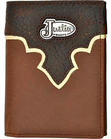 Justin Leather Overlay Tri-fold Wallet