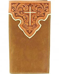 Nocona Tooled Leather Overlay w/ Cross Inlay Rodeo Wallet