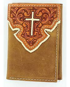 Nocona Tooled Overlay w/ Cross Inlay Tri-Fold Wallet