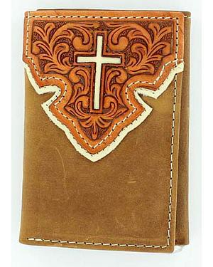 Nocona Tooled Overlay w/ Cross Inlay Tri-Fold Wallet