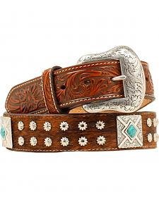 Nocona Fancy Concho Basketweave & Hair-on-Hide Belt