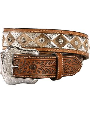 Nocona Triangle Concho Hair-on-Hide Tooled Belt