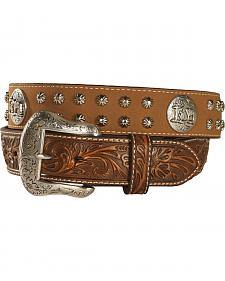 Nocona Studded Cowboy Faith Concho Leather Western Belt