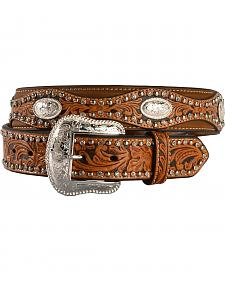 Nocona Scalloped Hand Tooled Overlay Western Belt