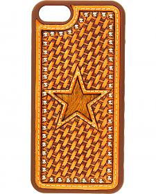 Nocona Basketweave & Hair-On-Hide Star Cutout Leather iPhone 5 Phone Case