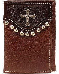 Embossed Leather Overlay & Cross Concho Tri-Fold Wallet