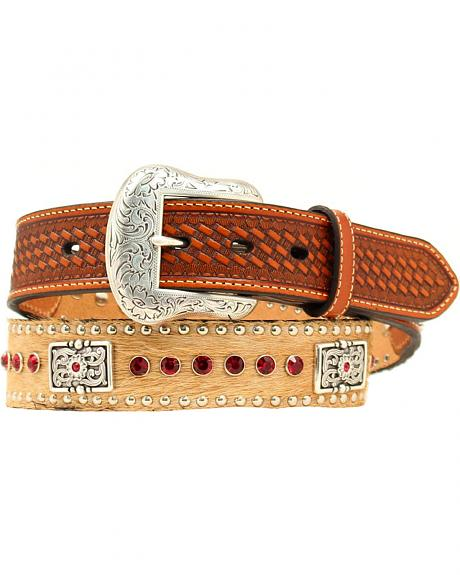 Hair-on-Hide Red Rhinestone & Concho Leather Belt