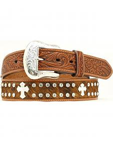 Hair-on Hide Rhinestone & Cross Concho Embossed Leather Belt