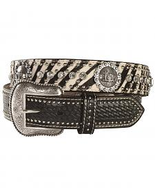 Zebra Print Hair-on-Hide Cowboy Prayer Concho Western Belt