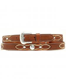 Basketweave Concho Leather Belt