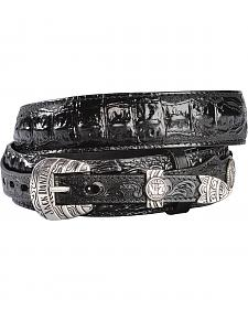 Jack Daniel's Black Embossed Croc Print Ranger Leather Belt